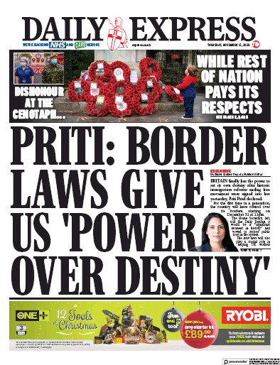 Daily Express Newspaper Front Page (UK) for 12 November 2020