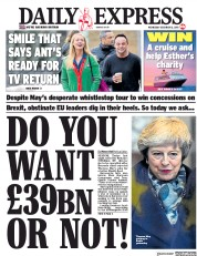 Daily Express (UK) Newspaper Front Page for 12 December 2018