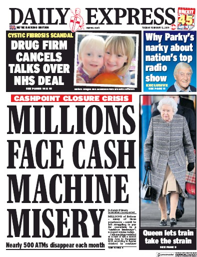 Daily Express Newspaper Front Page (UK) for 12 February 2019
