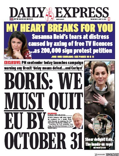 Daily Express Newspaper Front Page (UK) for 12 June 2019