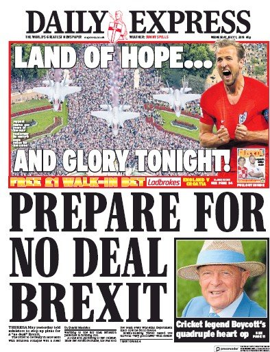 Daily Express Newspaper Front Page (UK) for 12 July 2018