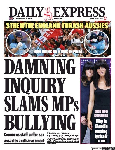 Daily Express Newspaper Front Page (UK) for 12 July 2019