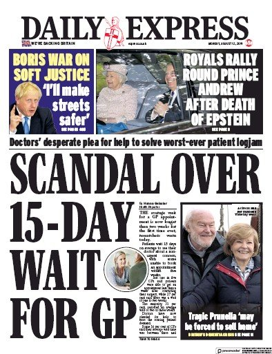 Daily Express Newspaper Front Page (UK) for 12 August 2019