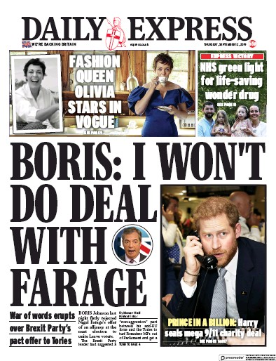Daily Express Newspaper Front Page (UK) for 12 September 2019