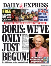 Daily Express (UK) Newspaper Front Page for 12 September 2020