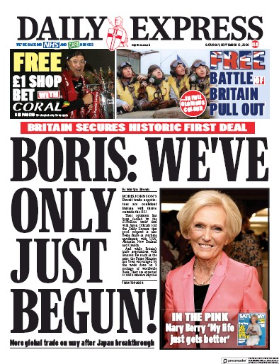 Daily Express Newspaper Front Page (UK) for 12 September 2020