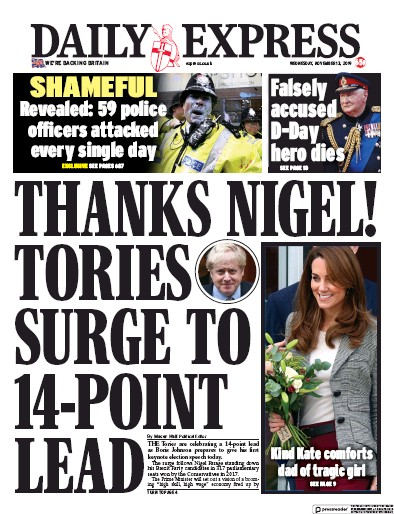 Daily Express Newspaper Front Page (UK) for 13 November 2019