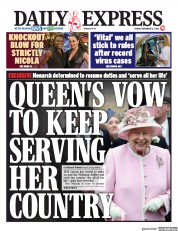 Daily Express front page for 13 November 2020