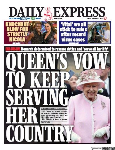 Daily Express Newspaper Front Page (UK) for 13 November 2020