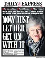 Daily Express (UK) Newspaper Front Page for 13 December 2018