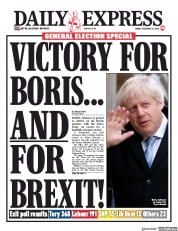 Daily Express (UK) Newspaper Front Page for 13 December 2019