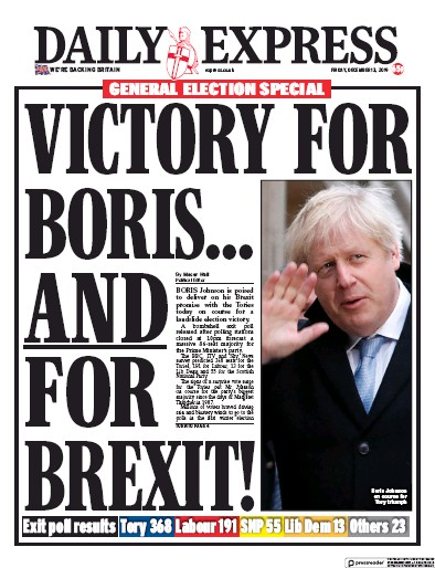 Daily Express Newspaper Front Page (UK) for 13 December 2019