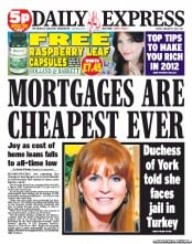 Daily Express () Newspaper Front Page for 13 January 2012