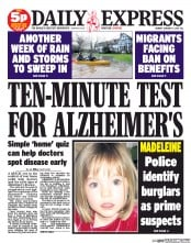 Daily Express Newspaper Front Page (UK) for 13 January 2014