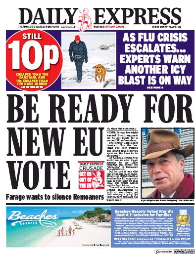 Daily Express Newspaper Front Page (UK) for 13 January 2018