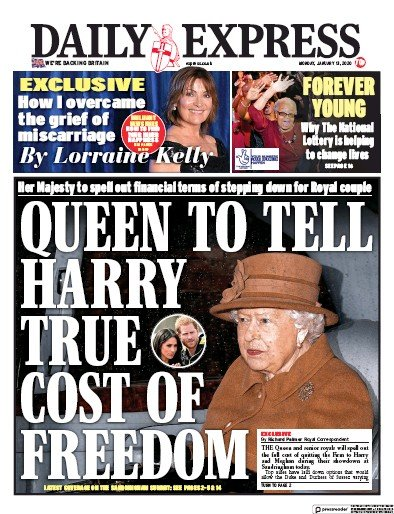 Daily Express Newspaper Front Page (UK) for 13 January 2020