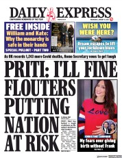 Daily Express front page for 13 January 2021