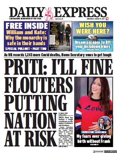 Daily Express Newspaper Front Page (UK) for 13 January 2021