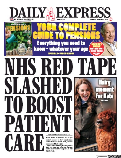 Daily Express Newspaper Front Page (UK) for 13 February 2020