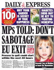 Daily Express (UK) Newspaper Front Page for 13 March 2017