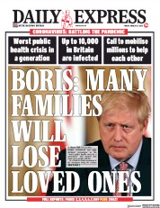 Daily Express (UK) Newspaper Front Page for 13 March 2020