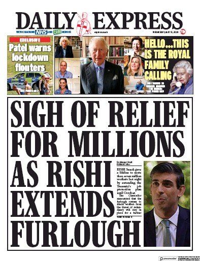 Daily Express Newspaper Front Page (UK) for 13 May 2020