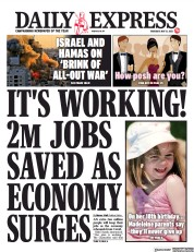 Daily Express front page for 13 May 2021