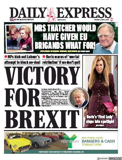 Daily Express Newspaper Front Page (UK) for 13 June 2019