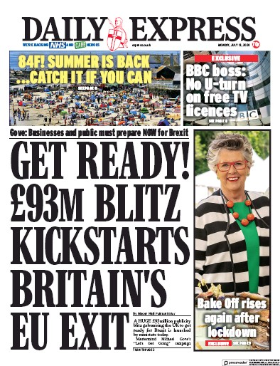 Daily Express Newspaper Front Page (UK) for 13 July 2020