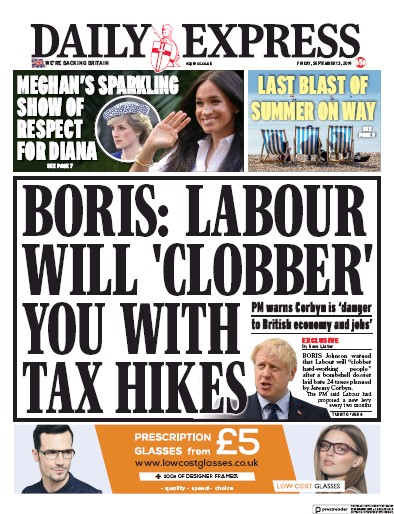 Daily Express Newspaper Front Page (UK) for 13 September 2019
