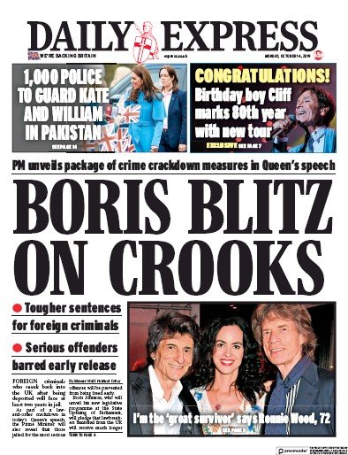 Daily Express Newspaper Front Page (UK) for 14 October 2019