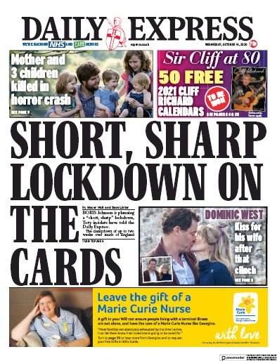 Daily Express Newspaper Front Page (UK) for 14 October 2020