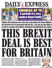 Daily Express (UK) Newspaper Front Page for 14 November 2018
