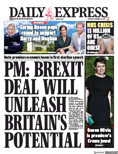 Daily Express Newspaper Front Page (UK) for 14 November 2019
