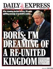Daily Express () Newspaper Front Page for 14 December 2019