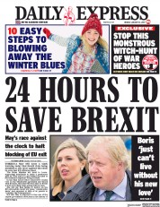 Daily Express (UK) Newspaper Front Page for 14 January 2019