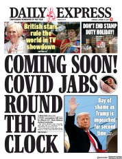 Daily Express front page for 14 January 2021