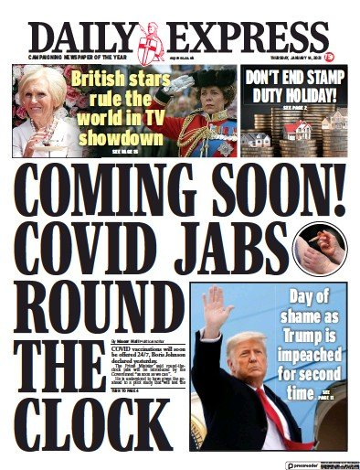 Daily Express Newspaper Front Page (UK) for 14 January 2021