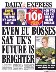 Daily Express (UK) Newspaper Front Page for 14 February 2017