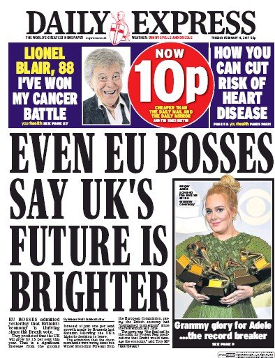 Daily Express Newspaper Front Page (UK) for 14 February 2017