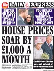 Daily Express (UK) Newspaper Front Page for 14 February 2018