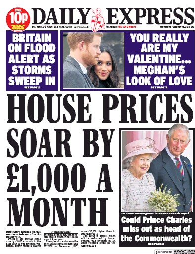 Daily Express Newspaper Front Page (UK) for 14 February 2018