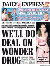 Daily Express (UK) Newspaper Front Page for 14 February 2019