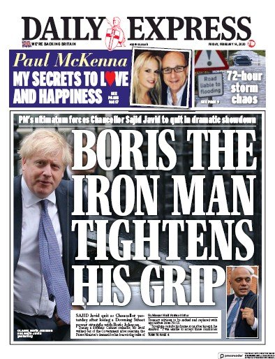 Daily Express Newspaper Front Page (UK) for 14 February 2020