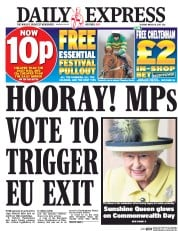 Daily Express (UK) Newspaper Front Page for 14 March 2017