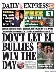Daily Express (UK) Newspaper Front Page for 14 March 2019