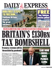 Daily Express front page for 14 May 2020