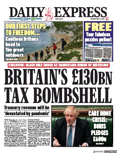 Daily Express Newspaper Front Page (UK) for 14 May 2020