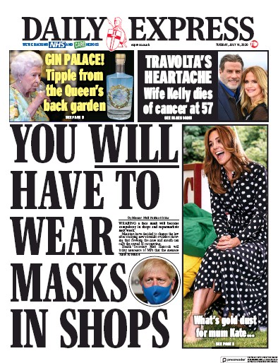 Daily Express Newspaper Front Page (UK) for 14 July 2020
