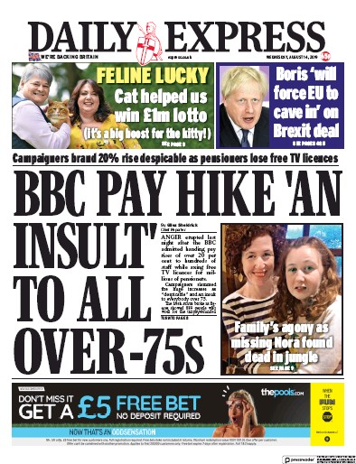 Daily Express Newspaper Front Page (UK) for 14 August 2019
